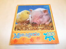 Mega Puzzles Chic & Pig MENAGERIE 100 pc. Jigsaw Puzzle Brand New / Sealed
