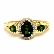 10k yellow gold .10ct SI3 H diamond halo chrome diopside gemstone ring 2.7g