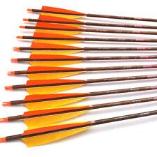 "12PCS SP400 32"" Pure Carbon Arrows Archery Wood Skin Nock Compound Bow Hunting"