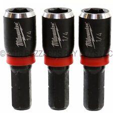 """3-PK Milwaukee SHOCKWAVE 1/4"""" Insert Magnetic Nutdriver 49-66-4512, FOR M12 M18"""