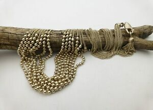 925 Sterling Silver 8-Link Beaded Bib Curb Chain Drape Necklace 17 Inches