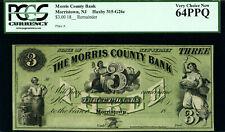 1862 Morris County Bank MORRISTOWN, NJ Three Dollar Note OBSOLETE REMAINDER NICE