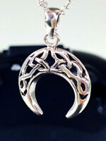 925 Sterling Silver Oxidised Celtic Knot Horn Pendant Necklace Chain 20% Off