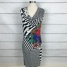 Desigual Women's Sara Draped Fitted Dress Size EUR Large Striped Floral Casual