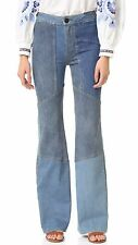 NWT Free People Alissas Seamed Patchwork Stretch Denim Flare Jeans 24 x 33 $168