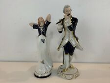 Vintage Royal Dux Porcelain Man Playing Flute & Woman Dancing Figurines