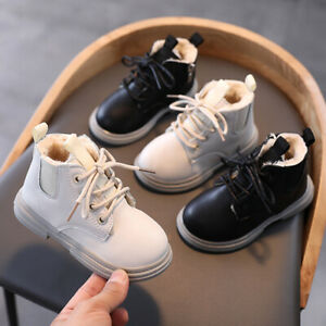 UK Kids Ankle Boots Boys Girls Winter Warm Snow Boots Chelsea Fur Lined Shoes