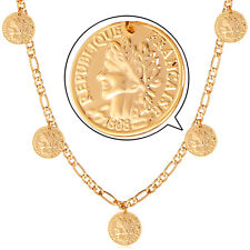 """18k Gold Plated French Coins Charms Necklace 22"""" Figaro Chain Fashion Jewelry"""