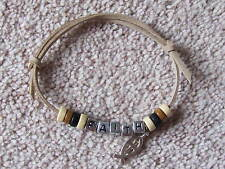FAITH FRIENDSHIP BRACELET WOODEN BEADS/SMAll FISH ON A BEIGE SUEDE CORD