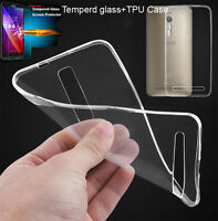 Ultra Thin Tempered Glass Screen Protector+Clear Soft TPU Case For Asus Zenfone