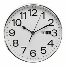 Silver Silent Wall Clock With Day Date Large Bold Numbers by WM Widdop