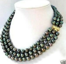 New 3 row 7-8MM Black Tahitian culture Pearl Necklace 17-19""