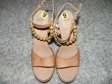 UGG NAIMA Sandals TAN WOOD PLATFORM BEADS SIZE 9 WOMENS LEATHER UPPER NWOB