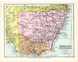 80 YEARS OLD ~ MAP SOUTH EAST AUSTRALIA NEW SOUTH WALES