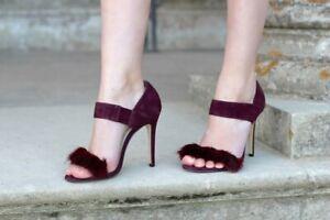 KAREN MILLEN Fur Trims Suede SHOES HEELS Sandals Burgundy  SIZE 37 NEW