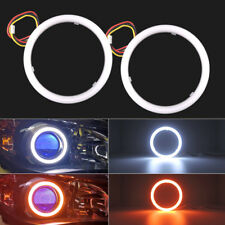 "2x White Amber 2.5"" Switchback LED Angel Eyes Halo Rings Car Headlight Retrofit"