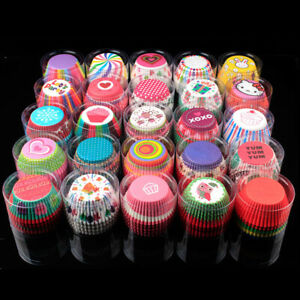 100Pcs High Quality Paper Cupcake Cases Muffin Baking Cup Cake Case Box Coloured