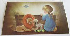 Unused Vtg Christmas Card Cute Angel w Stuffed Lion and Lamb Pull Toy by Manger