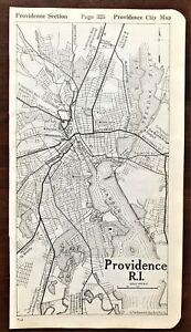 Authentic 1920 Original MAP ~ PROVIDENCE, RI Rhode Island, Street Detail, Rare