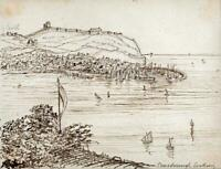 HANNAH SARAH TURNER BRIGHTWEN Small Pen & Ink Drawing SCARBOROUGH LANDSCAPE 1865