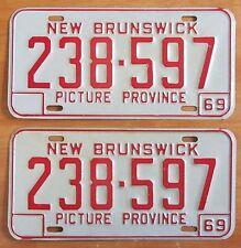 New Brunswick 1969 License Plate PAIR # 238-597