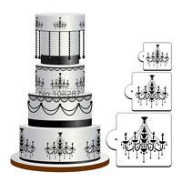 3Pcs Chandelier Lace Wedding Cake Cookie Fondant Baking Stencil Decor ToolsJB