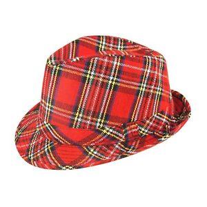 New Adult Fancy Dress Trilby Tartan Scottish Burns Night Hat Bay City Rollers