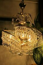 Antique Vintage French Basket Style Crystal Chandelier Luster Light 1960's.