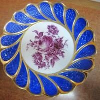 """Rare Meissen Germany Antique Porcelain Big Dish Plate Hand Painted Marked 11"""""""