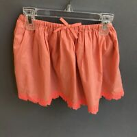 J.CREW CREWCUTS Girl's Cotton Skirt Coral Orange Lace Trim Size 6/7 EUC Pretty!