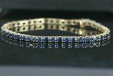10Ct Oval Cut Blue Sapphire Prong Tennis Women's Bracelet 14K Yellow Gold Finish