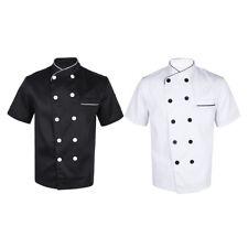 Men Womens Chef Jacket Coat Short Sleeve Baking Uniform Restaurant Work Clothing