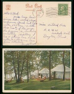 Mayfairstamps US 1929 Wisconsin College Camp to Dayton OH Tents YMCA College Pos
