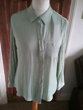 Mint Green Long Sleeve Blouse Shirt Size 16 AUTOGRAPH M&S BNWT SILKY FEEL