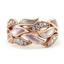 18K Rose Gold Plated Women Silver Jewelry Wedding Engagement Ring Sz 6-10