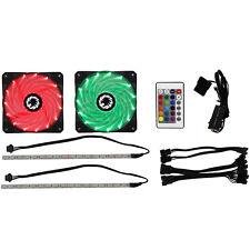 GAMEMAX 2 X ventola raffreddamento 12cm RGB KIT LED LUCE STRISCE & Remoto Raffreddamento PC Modding