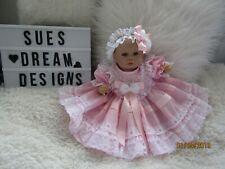 """Vêtements pour bébé Beatrice 0-3 mois/Reborn 16"""" deux pièces rose/blanc robe Set"""