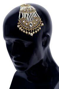 Indian Pakistani Bollywood Wedding Gold White Pearl Head Jhoomar Passa Jewelry