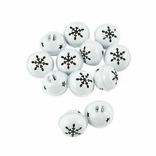 White Jingle Bells With Snowflake - Craft Supplies - 12 Pieces