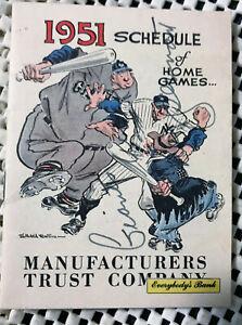 Vintage 1951 NY Yankees Giants Brooklyn Dodgers Home Game Baseball Schedule