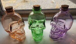 "Glass Skull Apothecary Jar Bottle Decanter Skeleton 4"" Halloween Poison Flask"