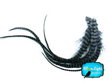 6 Pieces - Light Blue Grizzly Thick Long Rooster Hair Extension Feathers