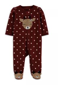 Child of Mine Infant Girl's Reindeer Microfleece Sleep N Play  3-6 Months