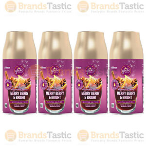 4 X GLADE AUTOMATIC SPRAY MERRY BERRY & BRIGHT ROOM AIR FRESHENER REFILLS 269ML