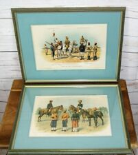 2 x Framed Richard Simkin Antique c1900 Military Prints: Indian + Egyptian Army