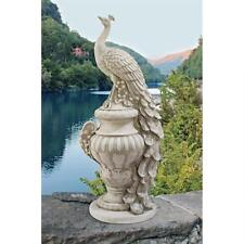 "Staverden Castle Peacock On Urn Design Toscano Exclusive 34"" Garden Statue"