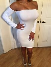 Sexy Semi Sheer White Long Sleeved OFF The Shoulder Party Dress S/M