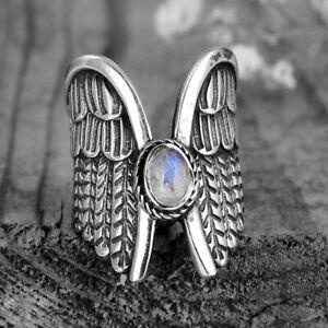 Lovely Tibetan Silver Moonstone Gemstone Angel Wings Ring Size N/7 Cocktail Ring