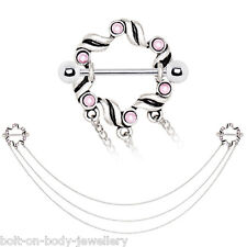 Pair of Pink Ribbon Nipple Bars with Triple Linking chain - Surgical Steel