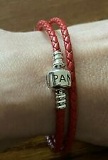 Pandora double red leather bracelet 35cm long